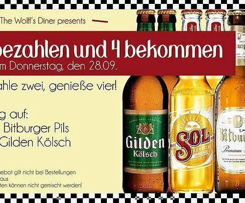 Tages-Special - 4 Bier für 2 nur am Donnerstag, 28.9.17