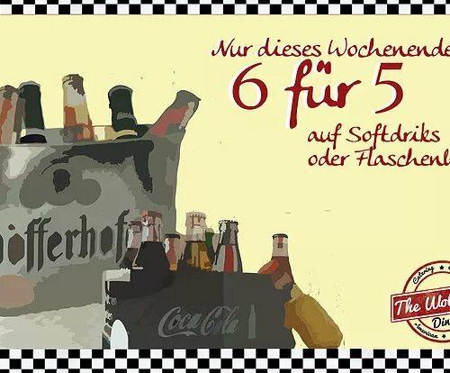 6 Getränke zum Preis von 5 - nur dieses Wochenende 14. - 15.01.17