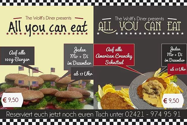 AYCE im Dezember! All-you-can-eat Burger & Schnitzel