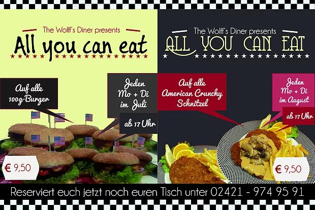 AYCE im August! All-you-can-eat Burger und Schnitzel