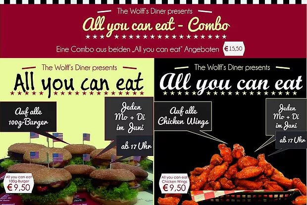 AYCE im Juni! all-you-can-eat Burger & Chicken Wings