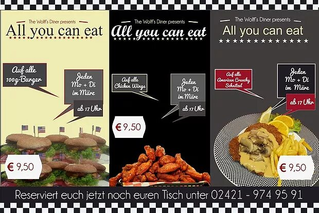 AYCE im März! All-you-can-eat Burger, Wings & Schnitzel