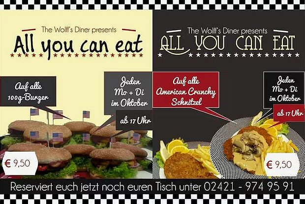 AYCE im Oktober! All-you-can-eat Burger & Schnitzel & Chicken Wings