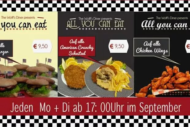 AYCE im September! All-you-can-eat Burger & Schnitzel & Chicken Wings