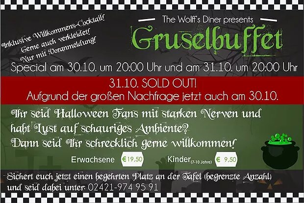 Week Special: Event Gruselbuffet freie Plätze noch am 30.10.18 (nur mit Voranmeldung)
