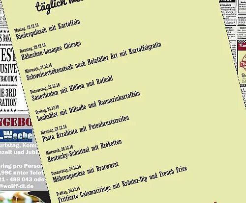 Wochenkarte Mittagstisch 19. - 30.12.16