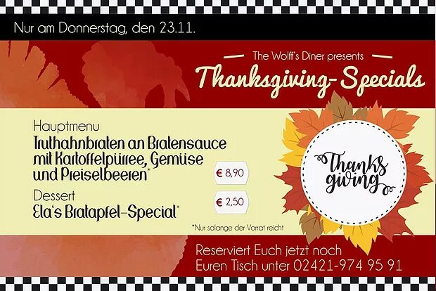 Tages-Special – Thanksgiving am 23.11.17